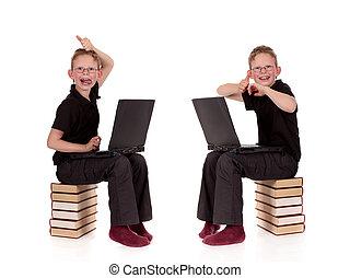 laptop,  poses, Vário, jovem, criança