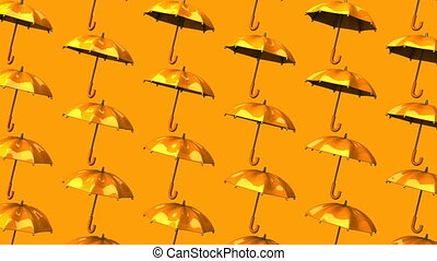 Orange Umbrellas On Orange Background Loop able 3DCG render...