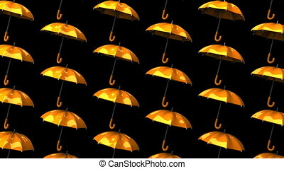 Orange Umbrellas On Black Background. Loop able 3DCG render...
