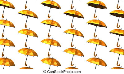 Orange Umbrellas On White Background. Loop able 3DCG render...