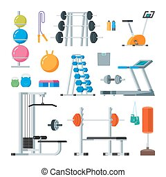 Fitness and workout exercise in gym. Vector set of icons flat style isolated on white background.