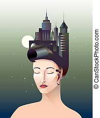 Miss Geometry Vector Composition - Miss geometry abstract...