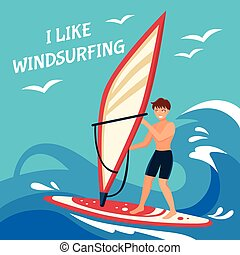 Windsurfing Background Illustration - Windsurfing Flat...