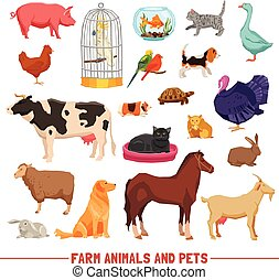 Farm Animals And Pets Set - Big and small farm animals birds...