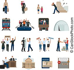 Stateless Refugees Flat Icons Set - Stateless refugees flat...