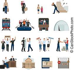 Stateless Refugees Flat Icons Set - Stateless refugees flat...
