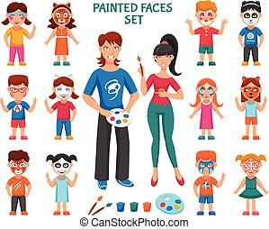 Face Paint For Children Set - Face Paint For Children Icons...