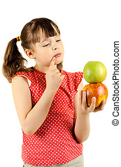 little girl - beauty little girl, hold apple and deep in...