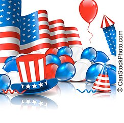 Cute Wallpaper in National American Colors - Illustration...