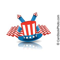 National Symbols of USA in American Colors - Illustration...