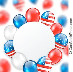Celebration Clean Card with Balloons in American National Colors