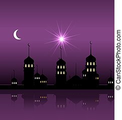Silhouette of Mosque Against Night Sky with Crescent Moon