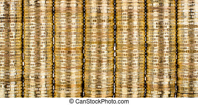 dollars - background of very many rouleau gold monetary or...