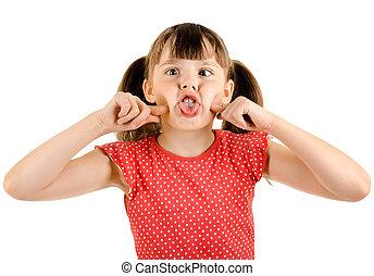 little girl - naughty little girl , play the fool, on white...