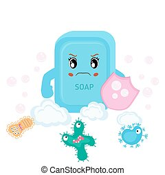 Soap and bacteria run away - Vector illustration of soap and...