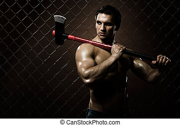 chopper - the very muscular guy on dark brown netting...