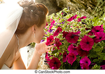 beautifull fiancee - horizontal wedding portrait beautifull...