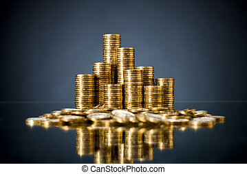 gold coin - still life of very many rouleau gold monetary or...