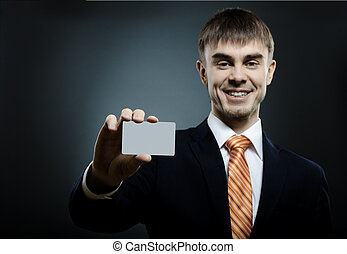 businessman reach out on camera and show credit card or...