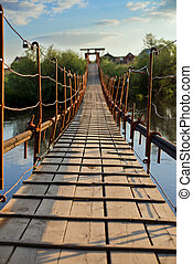 pendant bridge - old wooden long pendant bridge cross the...