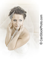 fiancee - vertical wedding portrait beautifull fiancee in...