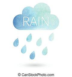 水彩画, 雨, 雲