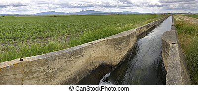 irrigation canal flows over the fertile meadows of High...