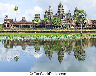 Angkor Wat in Cambodia - part of a temple complex named...