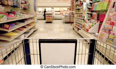 Shopping Fast at the Grocery Store From the Cart View