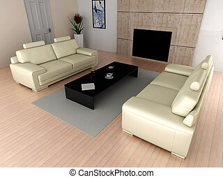 Living room - 3D rendered Illustration Interior...