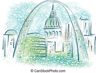 st louis. abstract illustration of city on multicolor...
