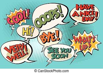 Set of retro comic bubbles pop art phrases vector. Wats up....