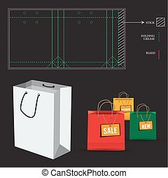 Shopping Bag with Die Cut Layout template - Shopping Paper...