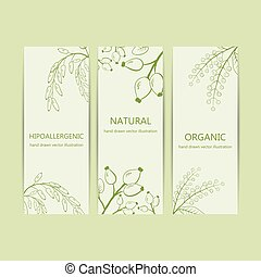 Collection herbal banner with bird cherry, rose hip,...