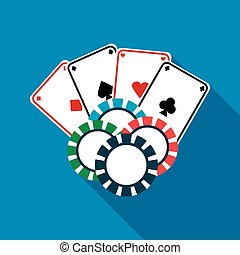 Poker cards and casino chips icon, flat style - Poker cards...