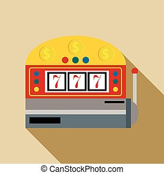 Slot machine with lucky seven icon, flat style
