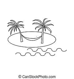 Hammock on beach icon, outline style