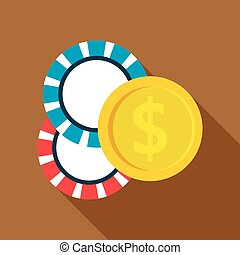 Casino chips icon, flat style - Casino chips icon in flat...