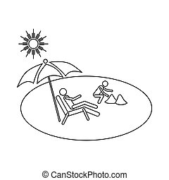 Family vacation on beach icon, outline style - Family...