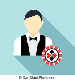 Casino croupier icon, flat style