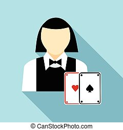 Pretty croupier woman with cards icon, flat style - Pretty...