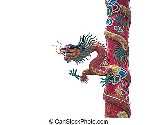 Chinese dragon statue on the pole isolated with clipping...