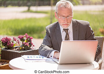 Pleasant businessman using laptop - Involved in work...