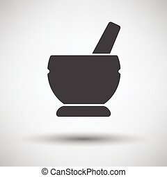 Mortar and pestel icon on gray background, round shadow...