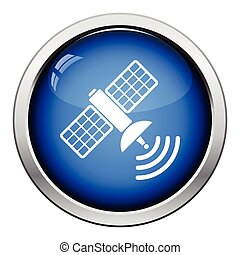 Satellite icon Glossy button design Vector illustration