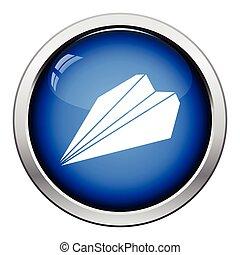 Paper plane icon Glossy button design Vector illustration