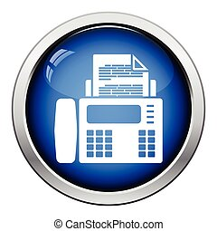 Fax icon. Glossy button design. Vector illustration.