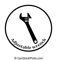 Icon of adjustable wrench. Thin circle design. Vector...