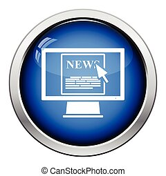 Monitor with news icon. Glossy button design. Vector...