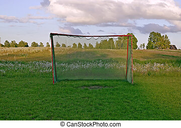 Football gates with nature background